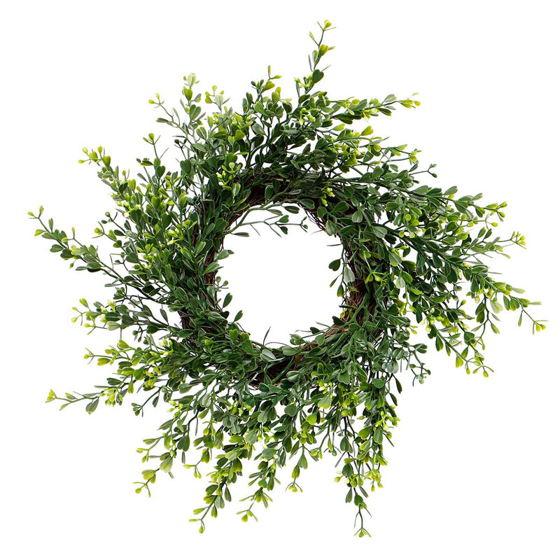 "14"" Flowering Boxwood Wreath"