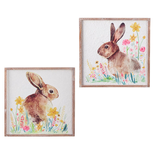 Floral Bunny Textured Wall Art (Various Styles)