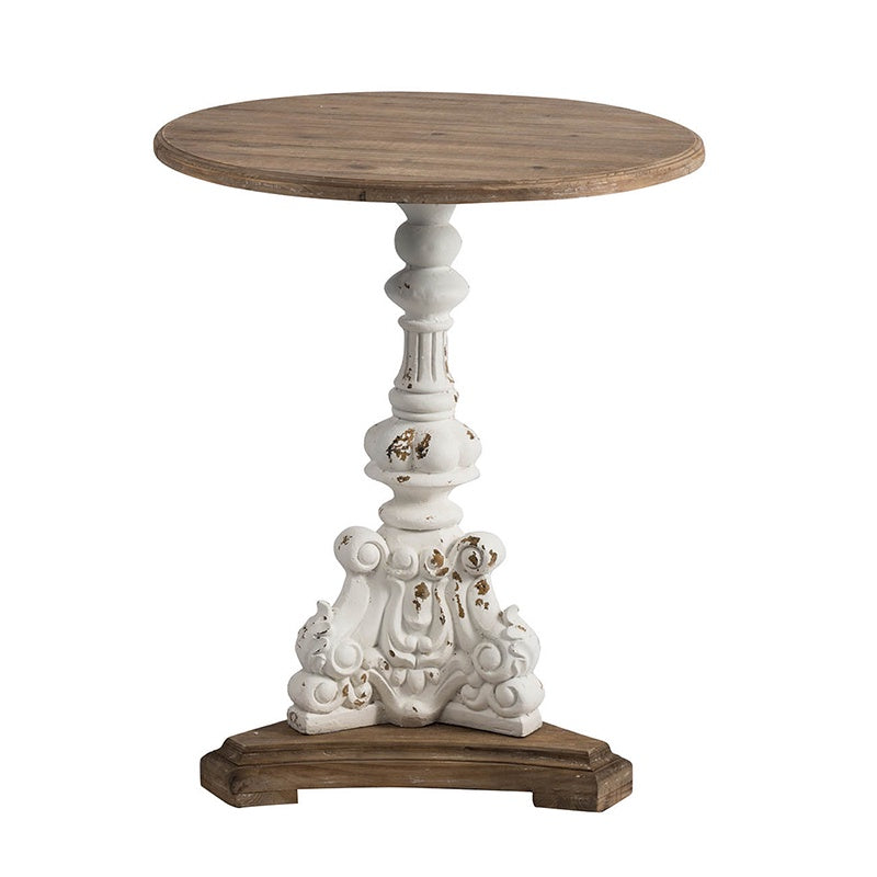 Distressed White & Wood Accent Table