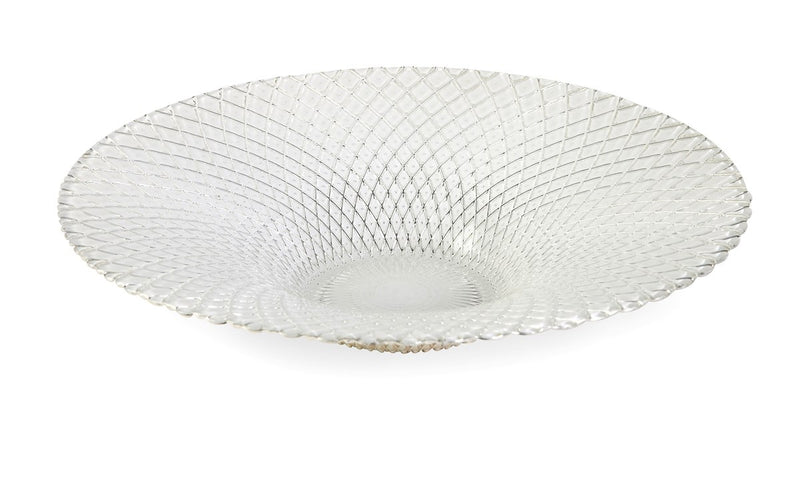 White Glass Patterned Bowl