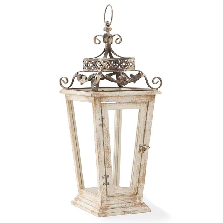 White Wood Lantern with Metal Scroll Top