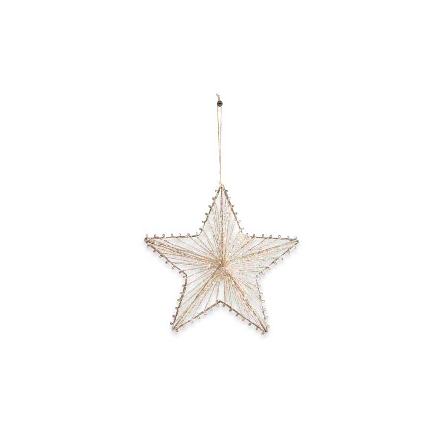 Glittered Jute Star Ornament