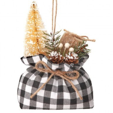 Black and White Check Package Sack Ornament