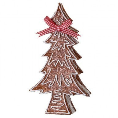Resin Gingerbread Tree with Bow