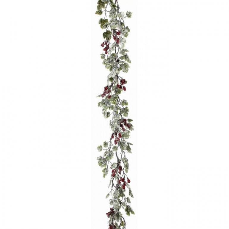 "72"" Frosted Grape Leaf & Berry Garland"