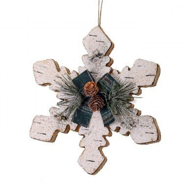Plaid Birch Snowflake Ornament
