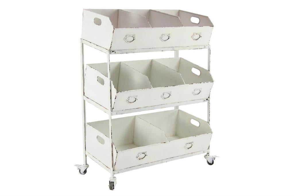Metal Storage Bin Rolling Cart