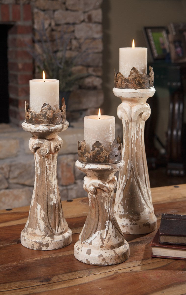 Hand Carved Wood Candleholders - Set of 3