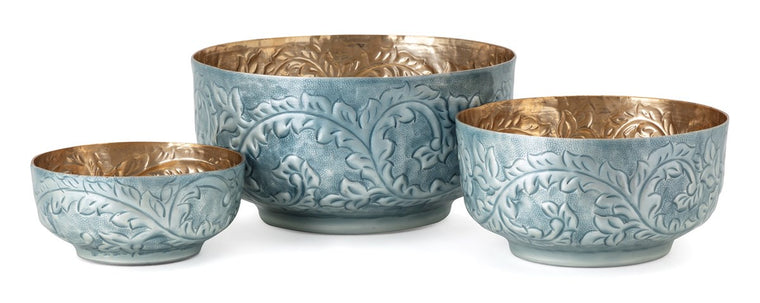 Blue Enamel Bowls, Set of 3