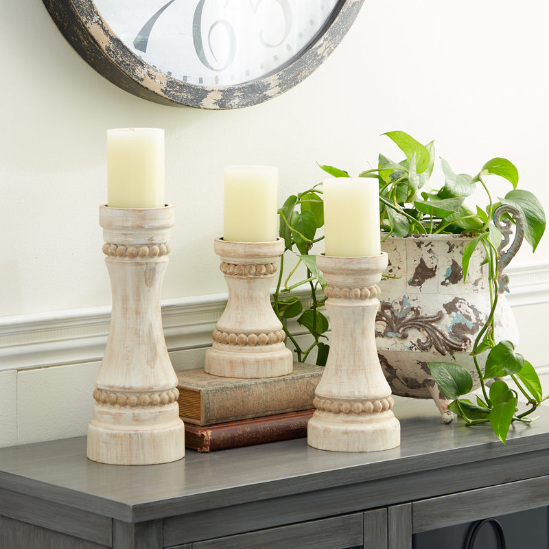 Distressed Wooden Beaded Candleholders, Set of 3