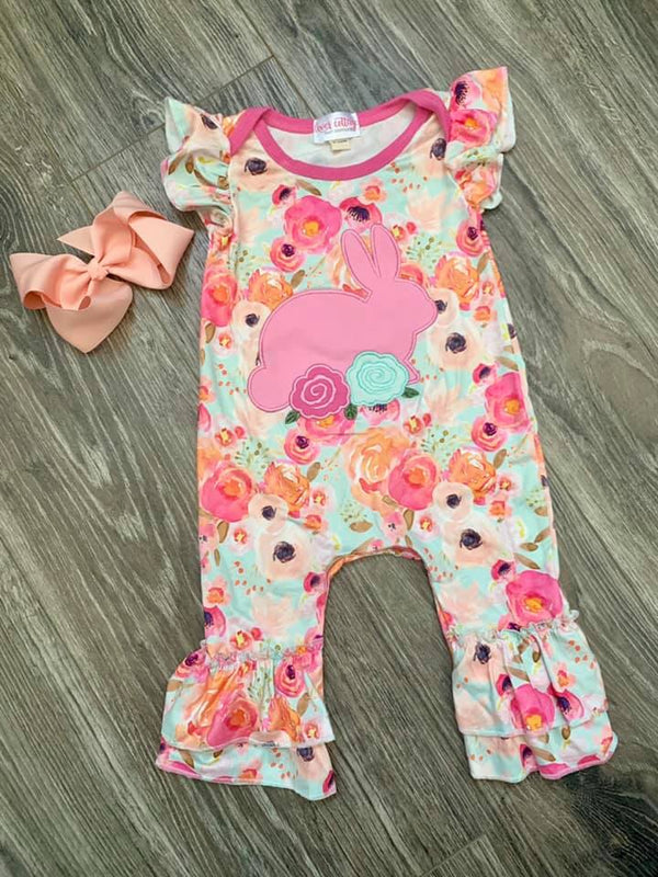 Girls' Boutique Applique Bunny Romper