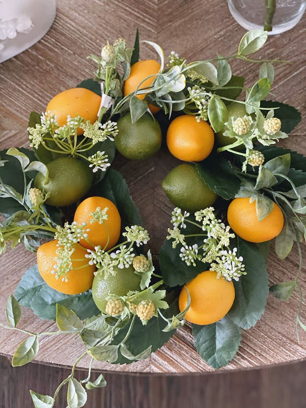 "Lemon & Lime Candle Ring Wreath 13"" 5"""