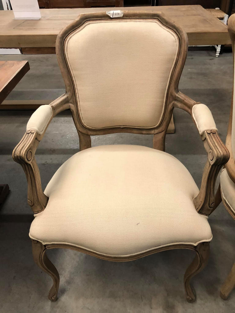 Square Linen Dining Chair with Arms