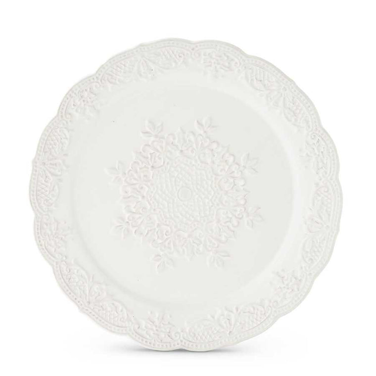 White Ceramic Ornate Plate with Snowflake