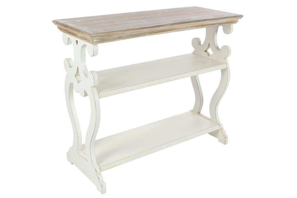 Wood & White Console Table