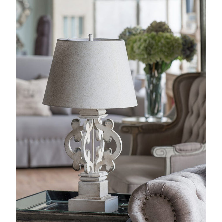 White Scroll Table Lamp