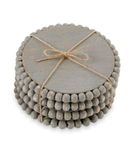 Beaded Wood Coaster Set (Various Colors)