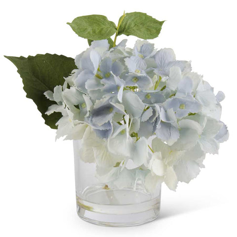 9 Inch Blue Real Touch Hydrangea in Glass Vase