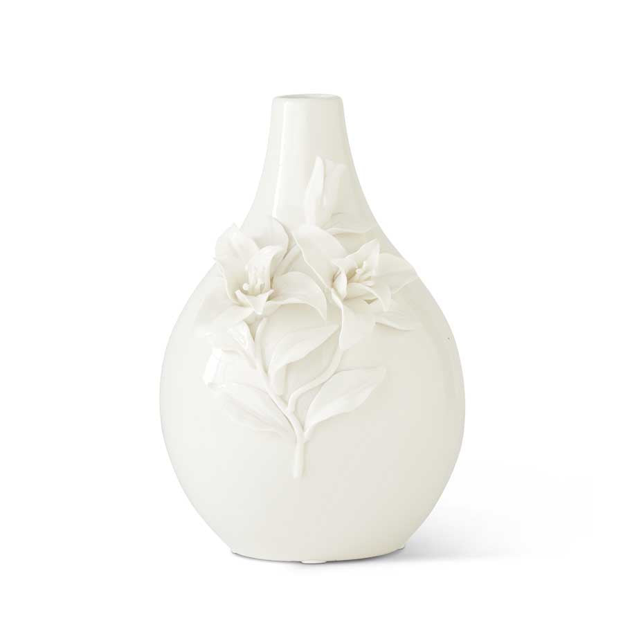 White Bottle Neck Vase With Raised Lily Flowers