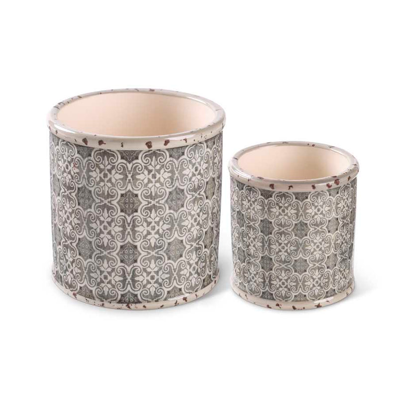 Round Ceramic Pots with Vintage Stenciled Pattern
