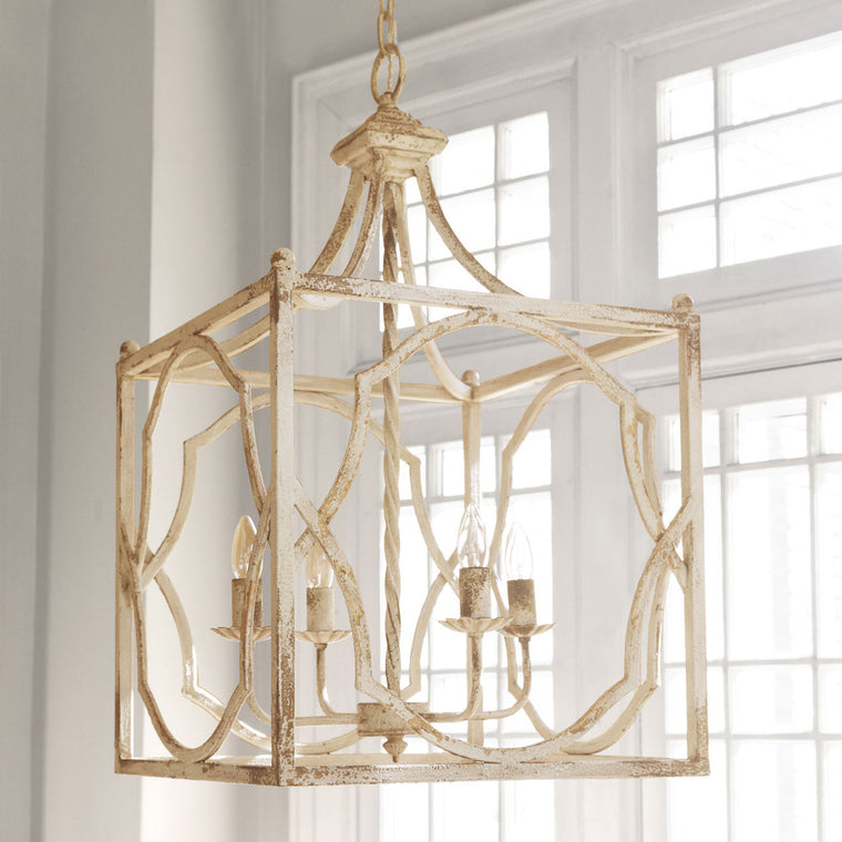 French Country Square Metal Chandelier