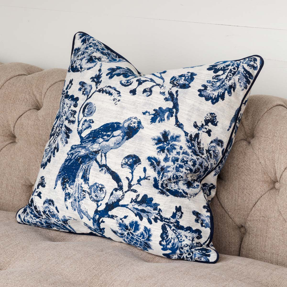 Blue & White Bird Pillow