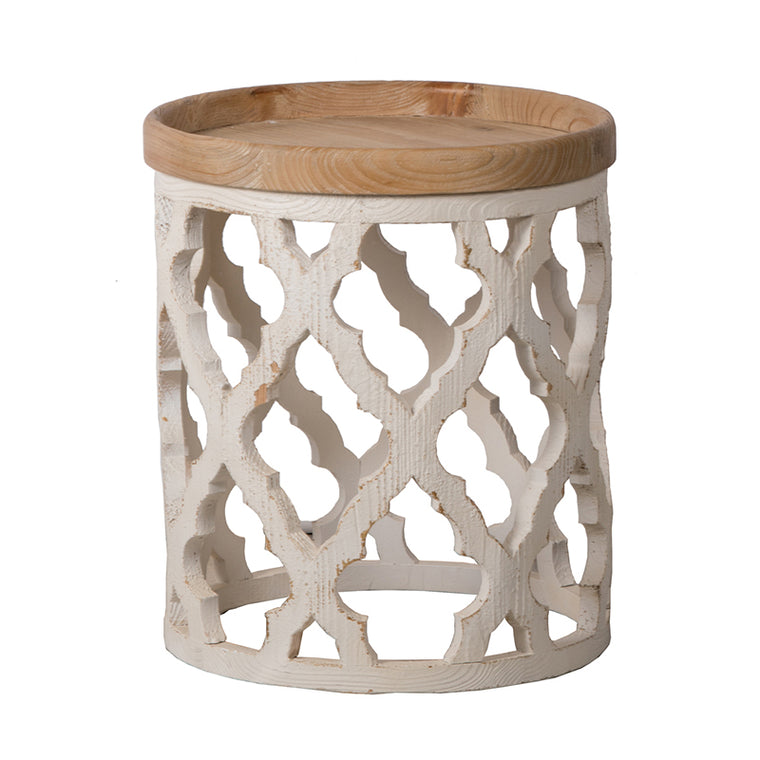 White & Natural Round Side Table