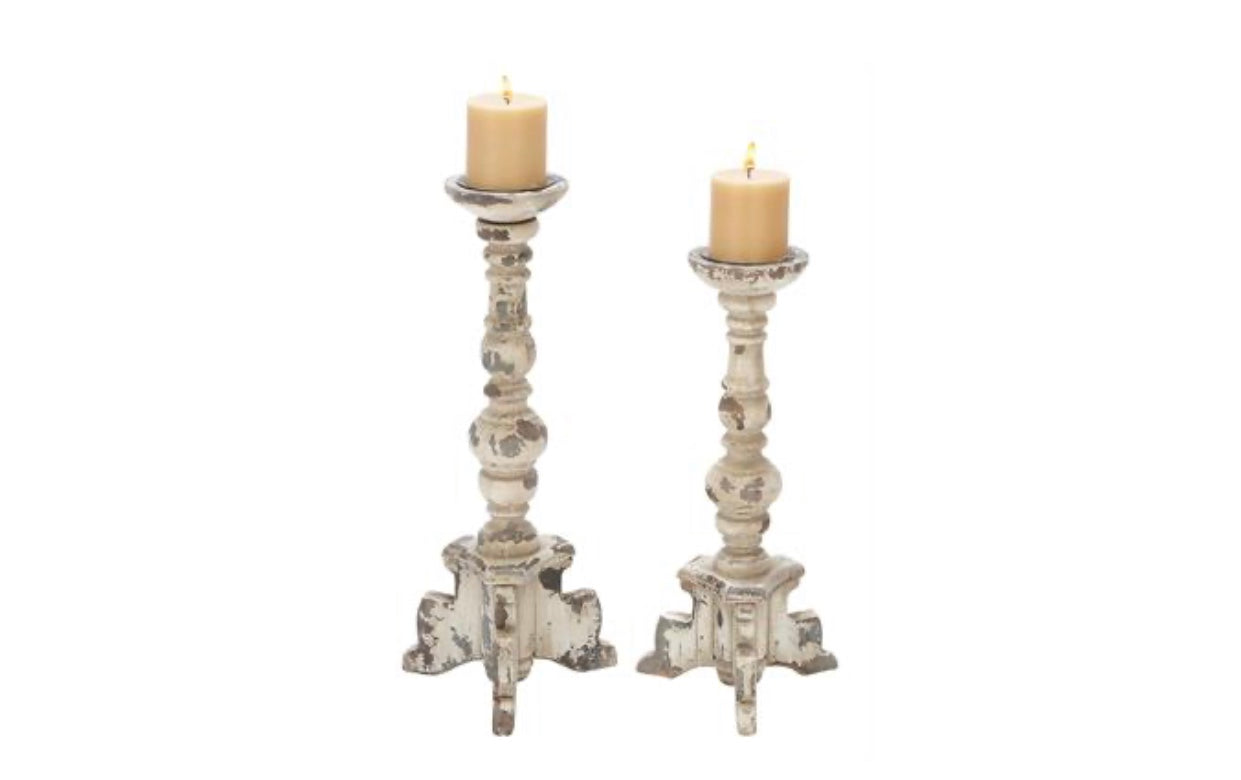 White Distressed Candleholders, Set of 2