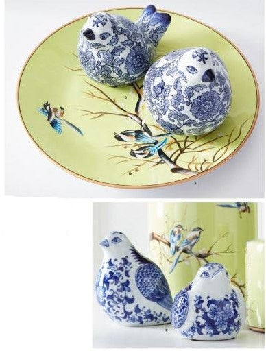 Blue and White Porcelain Sitting Birds, Set of 2 (Various Styles)