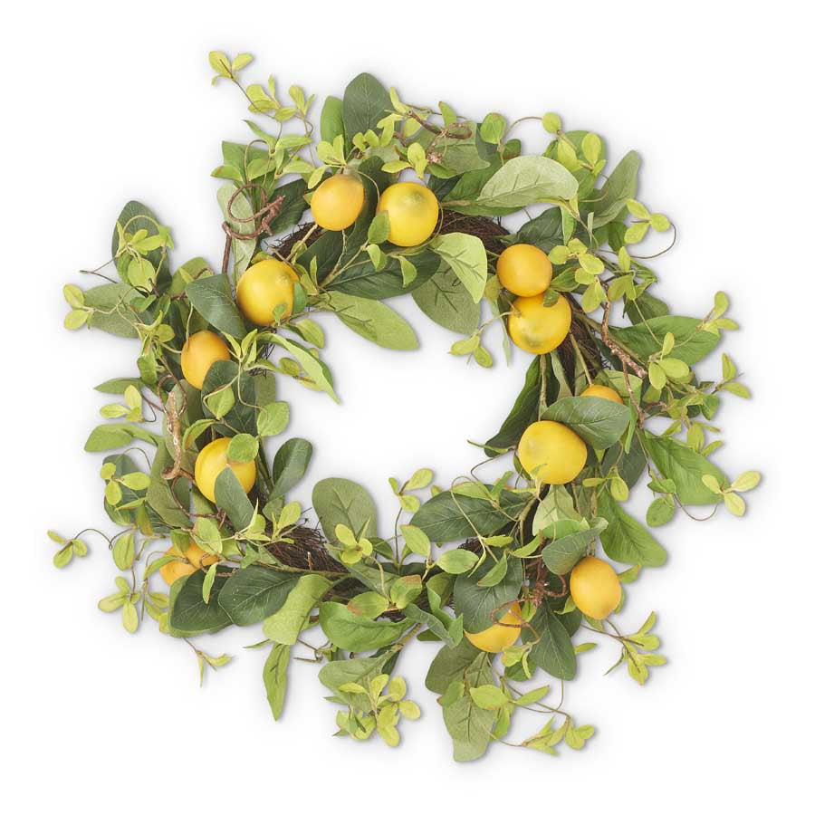 Lemon & Foliage Wreath with a Grapevine Base