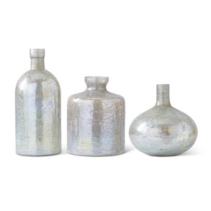 Antique Light Green Matte Glass Bottle Vases (Grad Sizes)