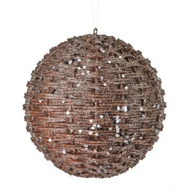 Natural Gold Glitter Rattan Orb Ornament