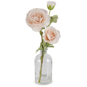 Real Touch Peach Triple Bloom Ranunculus in a Glass Bottle