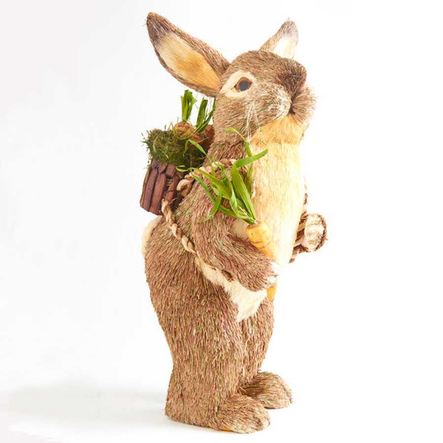 Sisal Bunny with Orange Carrot and Backpack