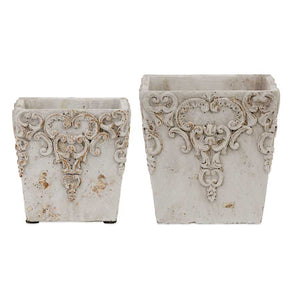 Set of 2 Square White Ceramic Embossed Pots (Grad Sizes)