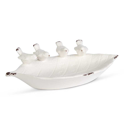 White Ceramic Leaf Bowl with Song Birds