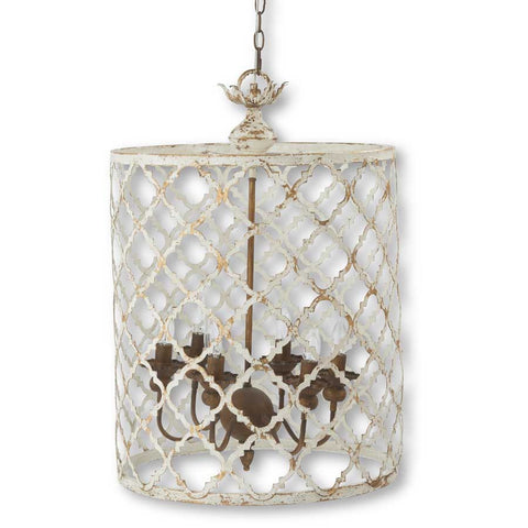 Whitewash and Gold Metal 6 Arm Quatrefoil Chandelier