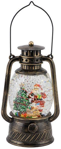Antique Black/Gold Santa and Tree Snow Globe Lantern