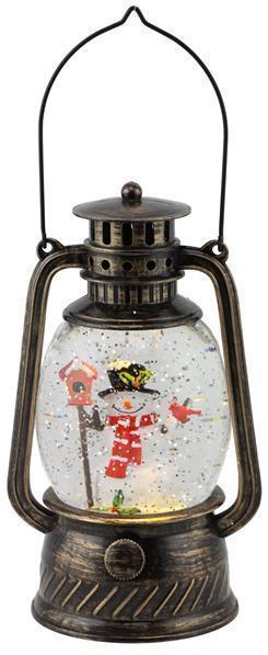 Antique Black/Gold Snowman Snow Globe Lantern