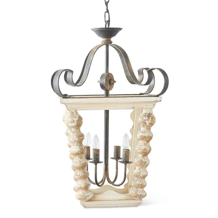 White Wood Lantern Chandelier