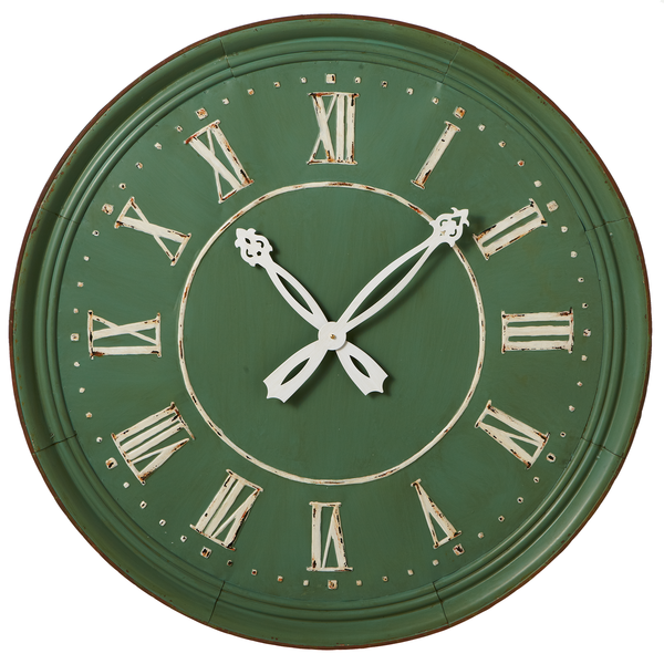 Round Wall Clock, Rustic Sage