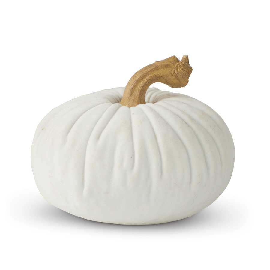 Resin White Velvet Pumpkin