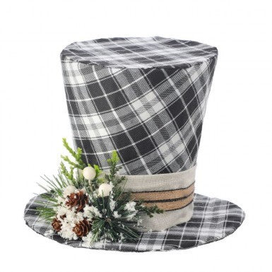 Black and White Plaid Top Hat Ornament