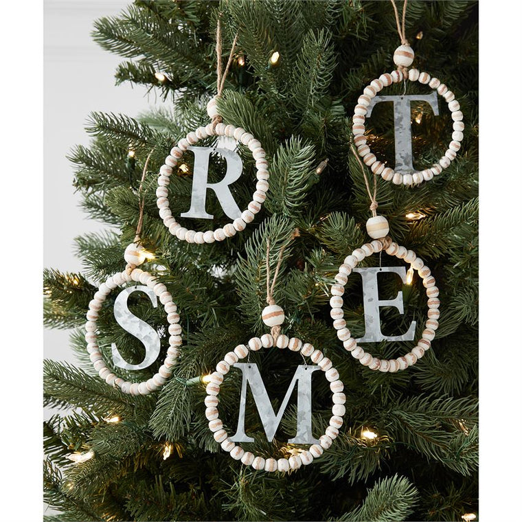 Wood and Metal Initial Beaded Ornament (Various Initials)