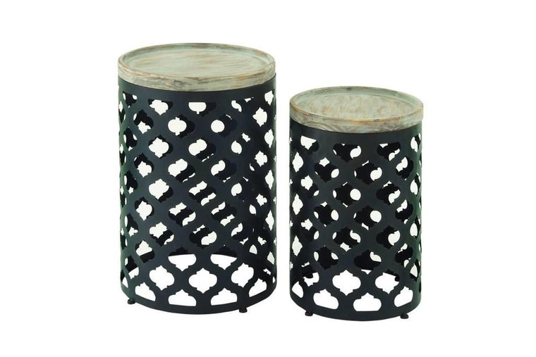 Black Iron Accent Table with Wood Top (Various Sizes)