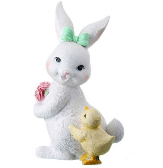 "9"" Resin Glitter Bunny with Chick (Various Styles)"