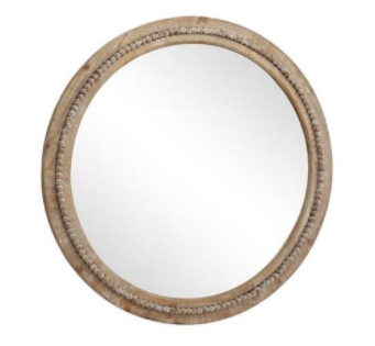 Round Wooden Beaded Mirror
