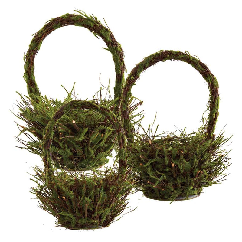 Round Moss and Twig Basket (Various Sizes)