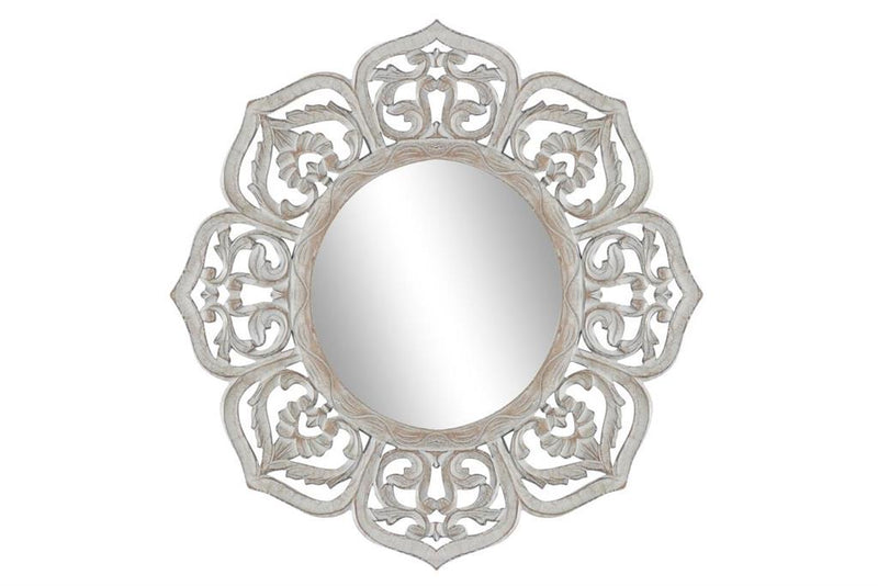 Floral Wood Carved Wall Mirror