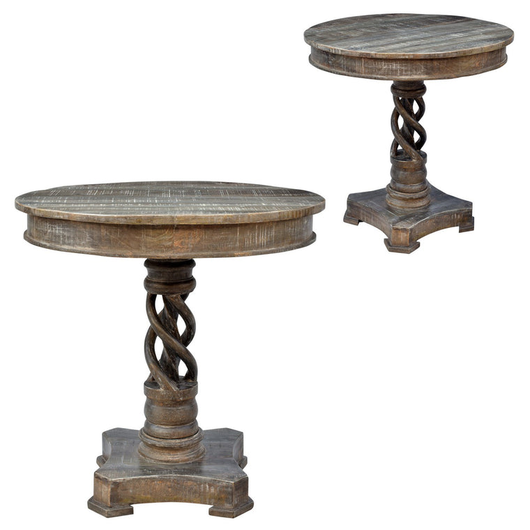Mango Wood Twist Accent Table